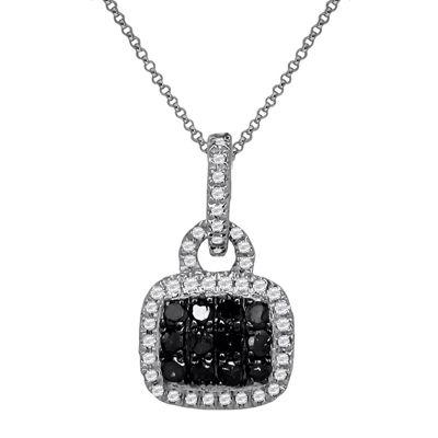LIMITED QUANTITIES 1/5 CT. T.W. White & Color-Enhanced Black Diamond Pendant Necklace