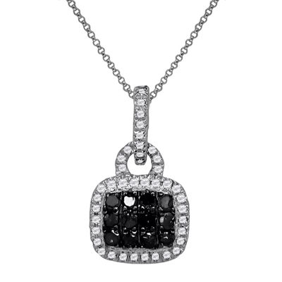 LIMITED QUANTITIES 1/5 CT. T.W. White & Color-Enhanced Black Diamond Pendant Necklace