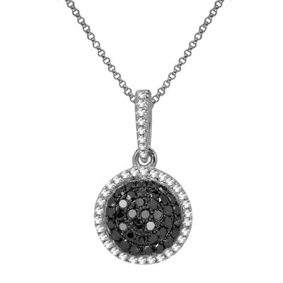 LIMITED QUANTITIES 1/3 CT. T.W. White & Color-Enhanced Black Diamond Circle Necklace