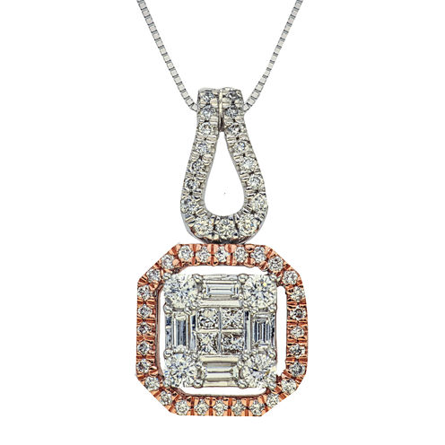 3/4 CT. T.W. Diamond 14K Two-Tone Gold Pendant Necklace