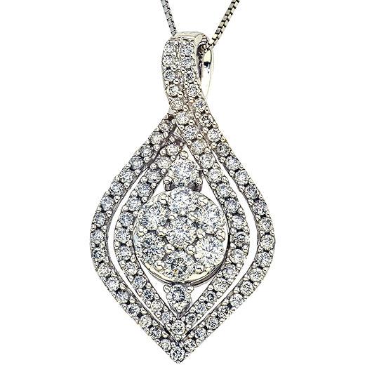 1 Ct Tw Diamond 14k White Gold Pendant Necklace