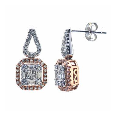 3/4 CT. T.W. Diamond 14K Two-Tone Gold Drop Earrings