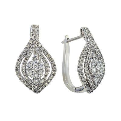 1 CT. T.W. Diamond 14K White Gold Drop Earrings
