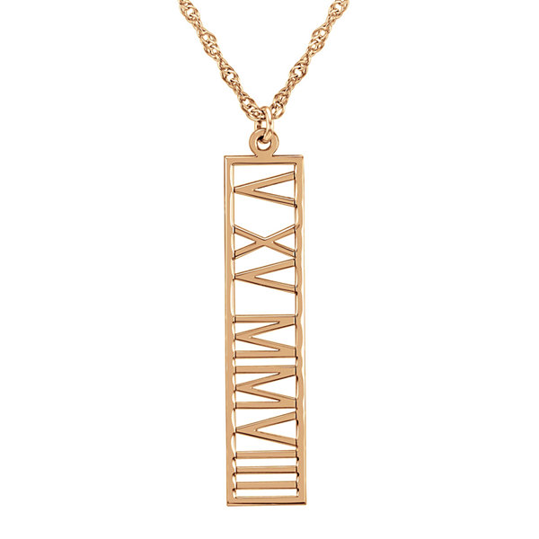 Personalized Roman Numeral Date Pendant Necklace