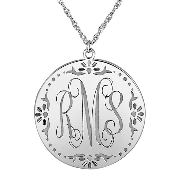 Personalized Sterling Silver Vine Monogram Pendant Necklace