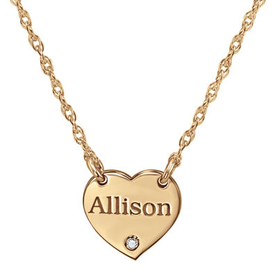 Personalized Diamond Accent Heart Name Pendant Necklace