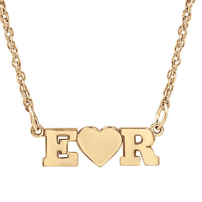 Personalized 2 Single Initial Heart Necklace