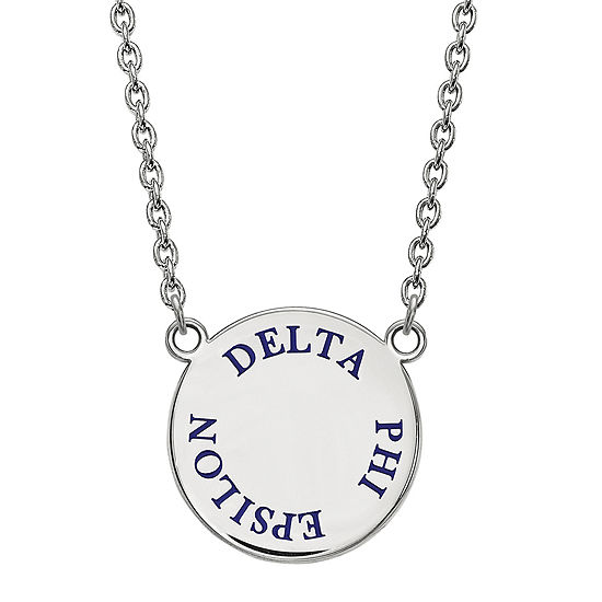 Delta Phi Epsilon Enamel Sterling Silver Disc Pendant Necklace