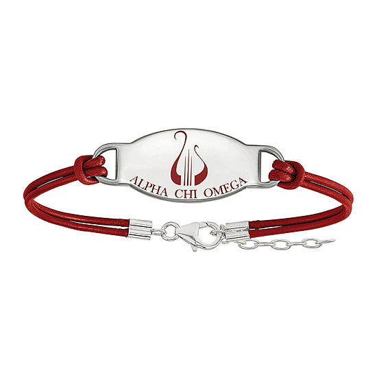 Alpha Chi Omega Enamel Sterling Silver Leather Bracelet
