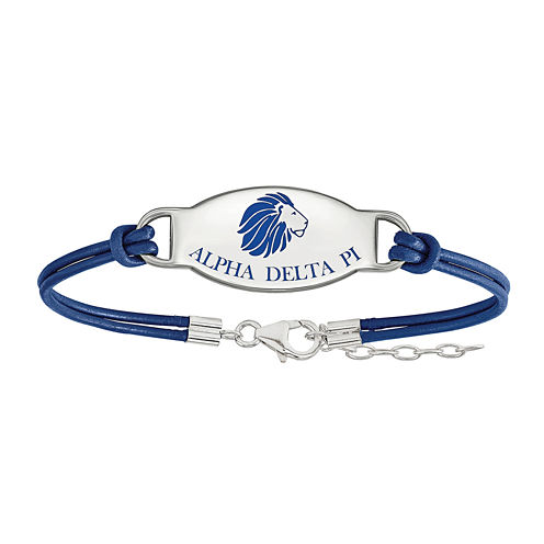 Alpha Delta Pi Enamel Sterling Silver Leather Bracelet