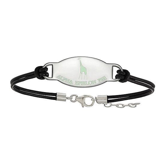Alpha Epsilon Phi Enamel Sterling Silver Leather Bracelet
