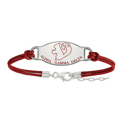 Alpha Gamma Delta Enameled Sterling Silver Oval Leather Bracelet