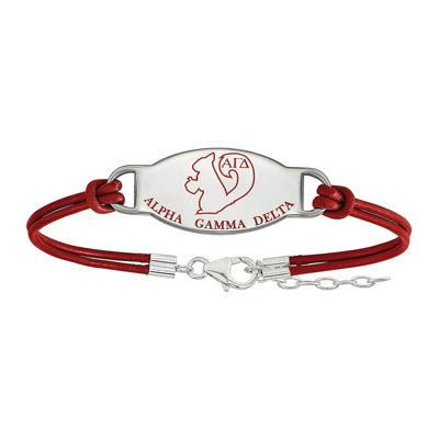 Alpha Gamma Delta Enameled Sterling Silver Oval Leather Bracelet