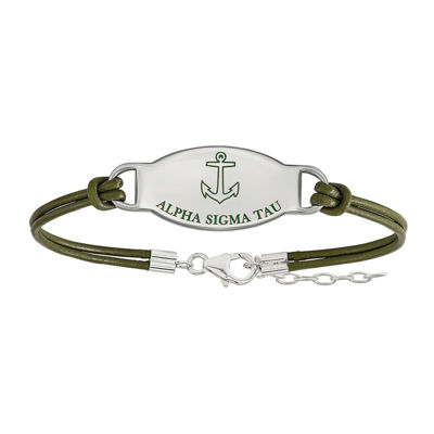 Alpha Sigma Tau Enameled Sterling Silver Oval Leather Bracelet