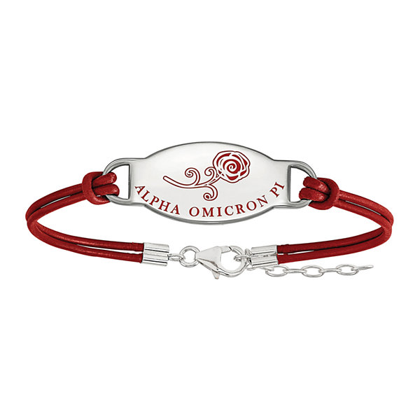 Alpha Omicron Pi Enameled Sterling Silver Oval Leather Bracelet