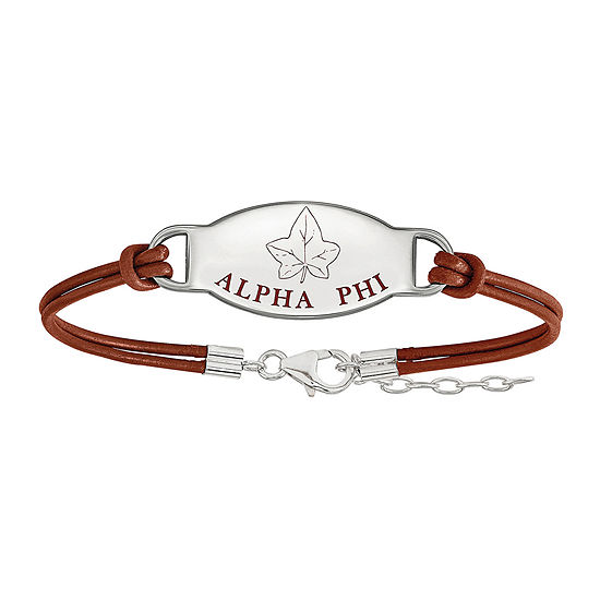 Alpha Phi Sterling Silver Enameled Leather Bracelet