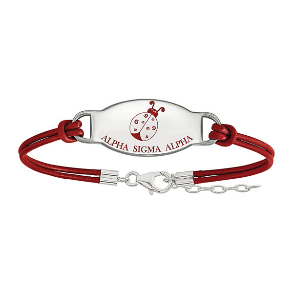 Alpha Sigma Alpha Enameled Sterling Silver Oval Leather Bracelet