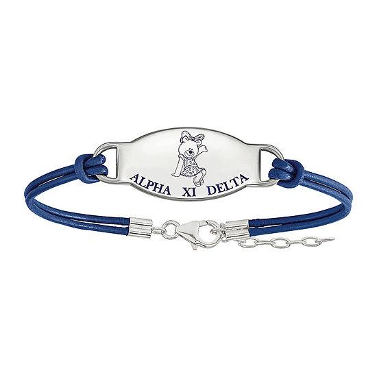 Alpha Xi Delta Sterling Silver Enameled Leather Bracelet