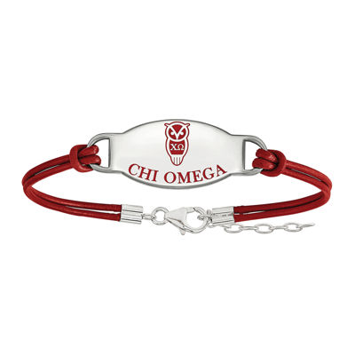 Chi Omega Enameled Sterling Silver Oval Leather Bracelet