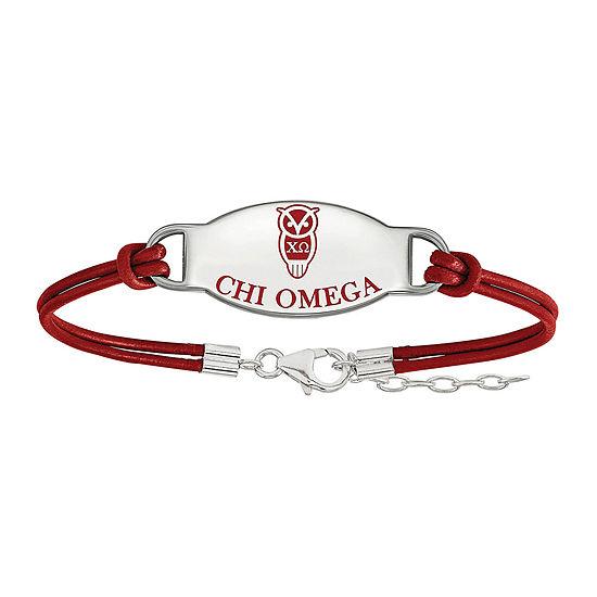 Chi Omega Enameled Sterling Silver Oval Leather Bracelet