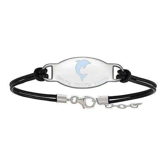 Delta Delta Delta Enameled Sterling Silver Oval Leather Bracelet