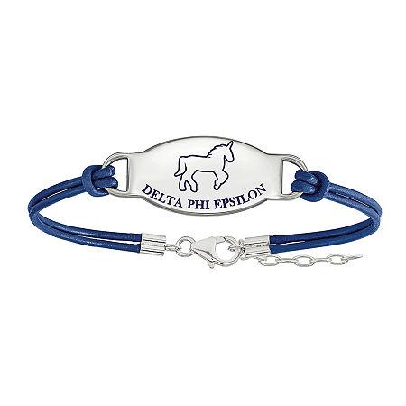 Delta Phi Epsilon Enameled Sterling Silver Oval Leather Bracelet, One Size