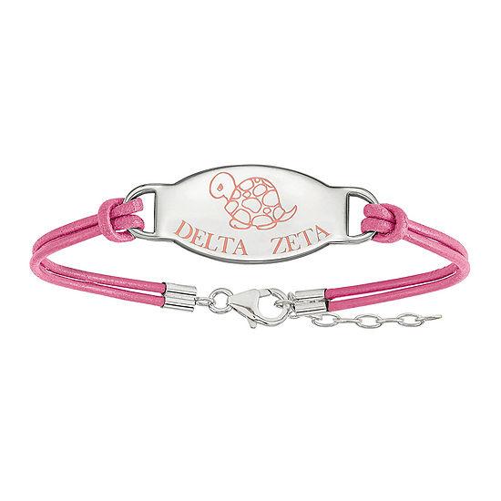 Delta Zeta Enameled Sterling Silver Oval Leather Bracelet