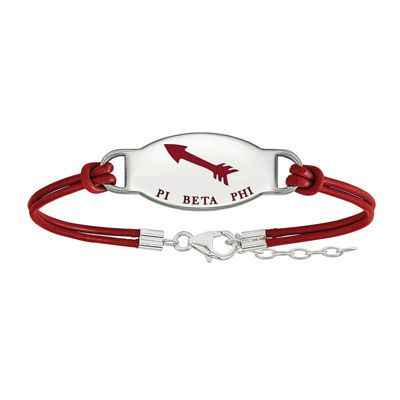 Pi Beta Phi Enameled Sterling Silver Oval Leather Bracelet