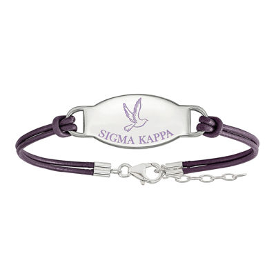Sigma Kappa Enameled Sterling Silver Oval Leather Bracelet