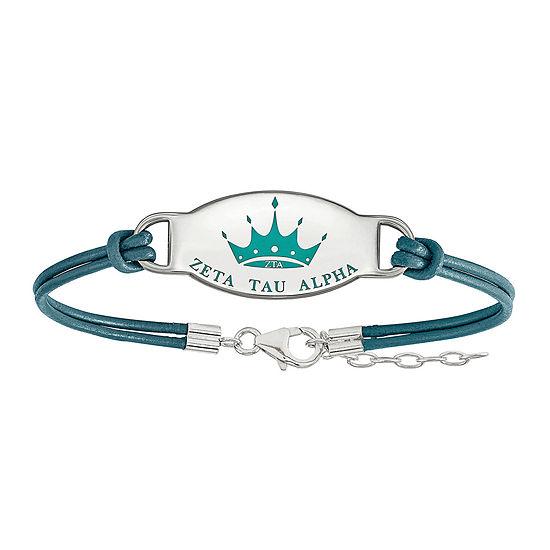 Zeta Tau Alpha Enameled Sterling Silver Oval Leather Bracelet