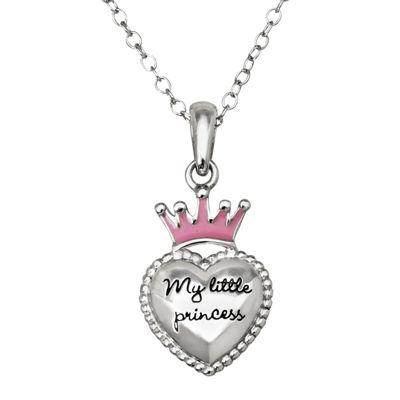 "Hallmark Kids Sterling Silver Enamel ""My Little Princess"" Pendant Necklace"