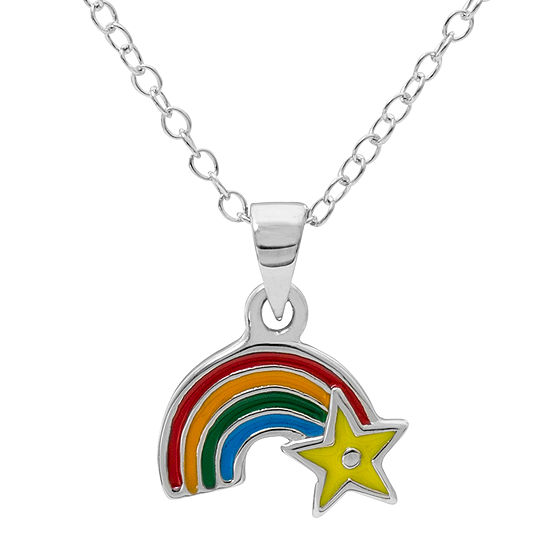 necklace diamond rainbow pendant product silver enamel