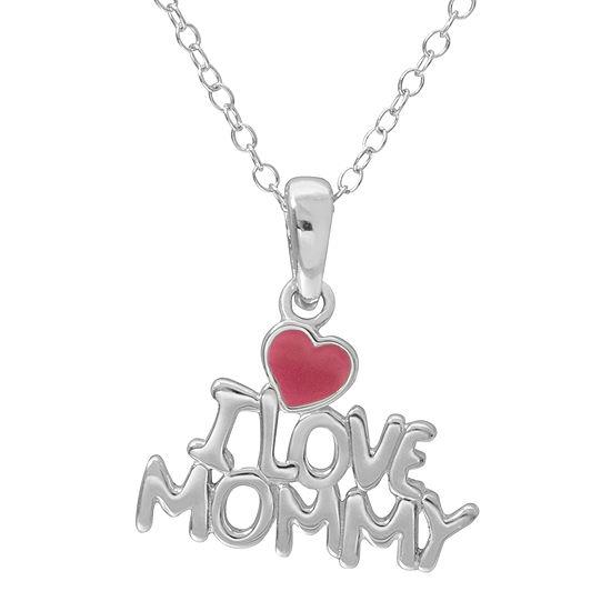 "Hallmark Kids Sterling Silver Enamel ""I Love Mommy"" Pendant Necklace"