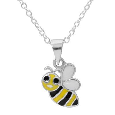 Hallmark Kids Sterling Silver Enamel Bee Pendant Necklace