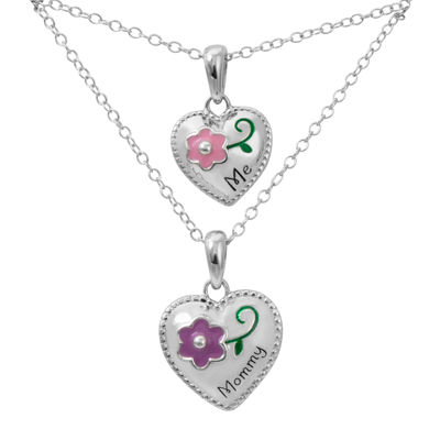 "Hallmark Kids Sterling Silver 2-pr. Enamel ""Me"" and ""Mommy"" Heart Pendant Necklaces"