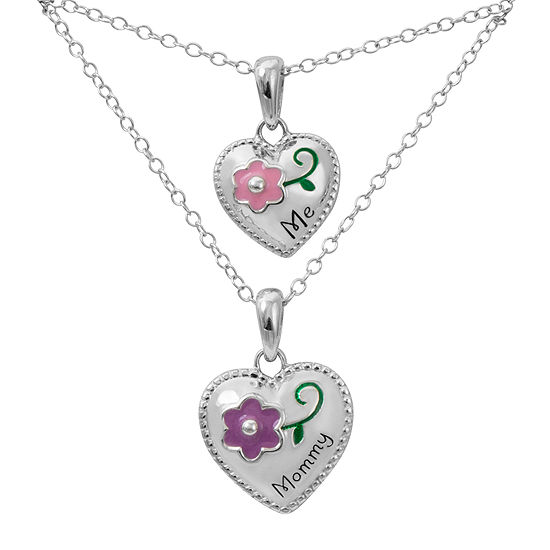 """Hallmark Kids Sterling Silver 2-pr. Enamel """"Me"""" and """"Mommy"""" Heart Pendant Necklaces"""