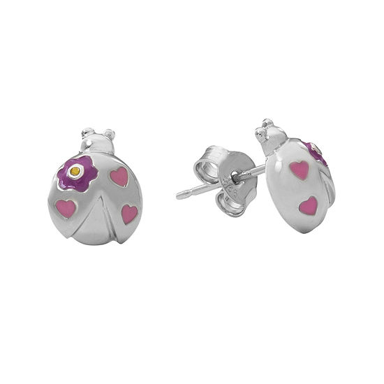 Hallmark Kids Sterling Silver Enamel Lady Bug Stud Earrings