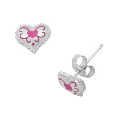 Hallmark Kids Sterling Silver Enamel Heart Stud Earrings