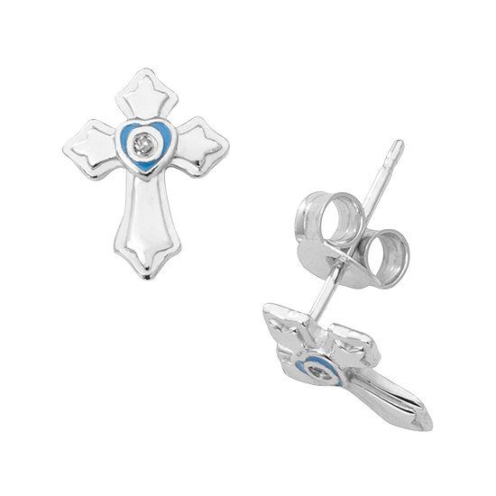 Hallmark Kids Sterling Silver Enamel Diamond Accent Cross Stud Earrings