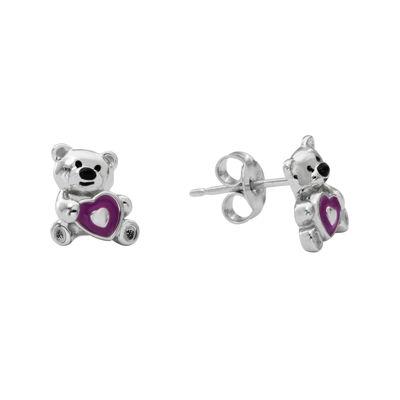 Hallmark Kids Sterling Silver Enamel Teddy Bear Stud Earrings