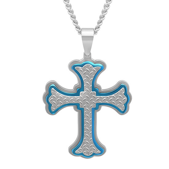 Mens Two Tone Stainless Steel Cross Pendant
