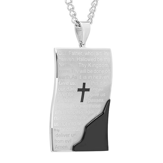 Mens Two Tone Stainless Steel Dog Tag Pendant