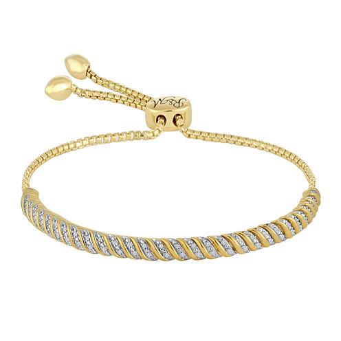 Rhythm and Muse 1/10 CT. T.W. Diamond 14K Yellow Gold Over Silver Flex Bracelet