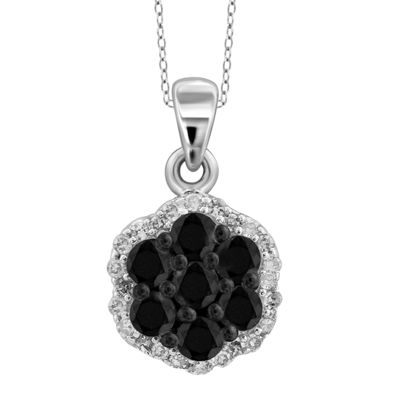 1 CT. T.W. White and Color-Enhanced Black Diamond Sterling Silver Pendant