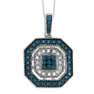 1/4 CT. T.W. White and Color-Enhanced Blue Diamond Sterling Silver Pendant