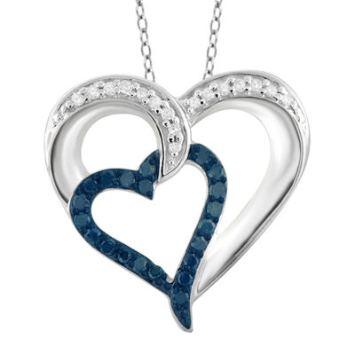 1/4 CT. T.W. White and Color-Enhanced Blue Diamond Sterling Silver Heart Pendant