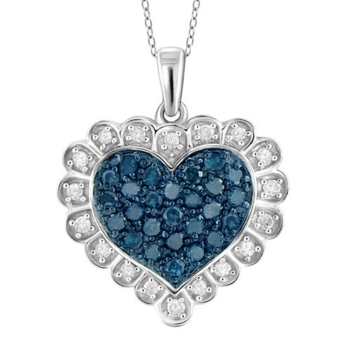 1/2 CT. T.W. White and Color-Enhanced Blue Diamond Sterling Silver Heart Pendant