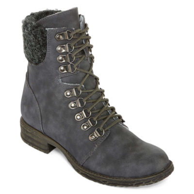 2 Lips Too Womens Folsom Combat Boots Lace-up