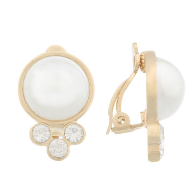Gloria Vanderbilt White Simulated Pearl Clip On Earrings