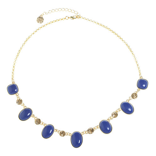Monet Jewelry Womens Blue Collar Necklace